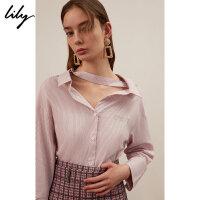 【不打烊价:203元】 Lily春新款女装慵懒调节带粉红条纹宽松字母衬衫119120C4246
