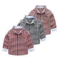 儿童格子衬衫春季2019长袖男孩童装衬衣宽松衬褂