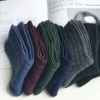 羊毛袜子男士加厚冬天保暖堆堆袜中筒复古韩版学院风兔羊毛长袜