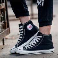 秋冬加绒保暖棉鞋男短靴子平底休闲鞋帆布学生棉靴短筒男鞋