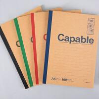 晨光笔记本A5无线装订本100页雅致办公记事本(1本)颜色随机发