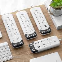 多功能��意可移�优�Σ遄�面板多孔排插USB充�插板�Ь��W生宿舍多用�源插�板5米接拖�板桌面可�鄄迮偶矣�