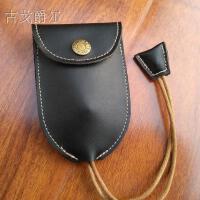 真皮汽车遥控钥匙包男女日韩创意多功能约抽拉式牛皮钥匙包 黑色 平纹