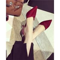 高跟鞋漆皮尖头浅口细跟女鞋单鞋秋季新款2018职业黑色百搭时尚