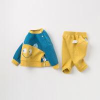 davebella戴维贝拉童装秋冬新款女童加绒套装宝宝两件套DBH11364