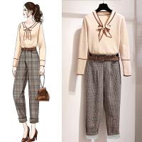 两件套装女秋冬装时尚俏皮显瘦毛衣阔腿裤小香风套装