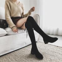 W粗跟长筒靴女过膝瘦瘦靴2019秋季新款百搭英伦风弹力靴潮