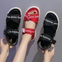 新款女士运动风凉鞋百搭平底沙滩女凉鞋 ins潮学生罗马鞋红色凉鞋