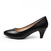 单鞋工作鞋女黑色粗跟职业鞋舒适细跟软底尖头高跟鞋大码女鞋
