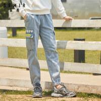 森马牛仔长裤男2020新款秋季韩版潮流ins工装帅气裤子束脚牛仔裤