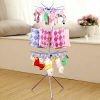 婴儿晾衣架落地折叠升降不锈钢阳台晒衣架儿童毛巾架宝宝尿布架