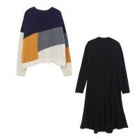 2019新款大码女装微胖mm减龄显瘦洋气连衣裙两件套秋冬季胖妹妹裙