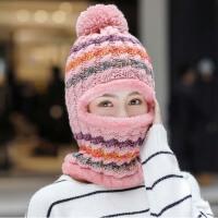 帽子女冬季韩版百搭学生针织毛线帽加厚保暖防寒护耳骑车帽一体帽