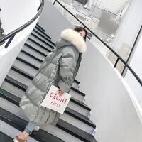 新年特惠长款羽绒服女2019新款时尚韩版修身白色大毛领过膝中长外套