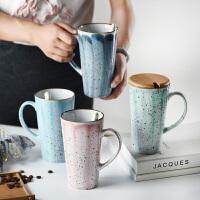 马克杯带盖带勺ins北欧简约大容量办公室喝水杯家用情侣陶瓷杯子