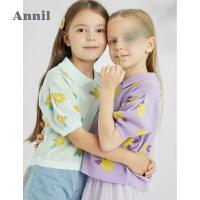 【2件4折价:107.6】安奈儿童装女童翻领棉线衫短袖2021新款洋气针织衫夏装薄款空调衫