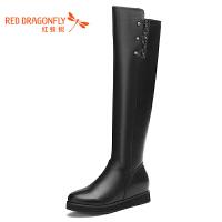 红蜻蜓秋冬款女靴子圆头平跟韩版高筒靴厚底棉靴