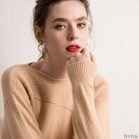 羊绒衫女秋冬新款套头短款圆领宽松打底针织衫慵懒纯色山羊绒毛衣