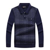 【秋冬新品】中老年男士毛衣加绒假两件保暖毛线衣针织衫爸爸装衬衫领加厚毛衫