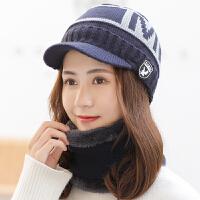 帽子女冬天加绒保暖毛线帽韩版百搭时尚甜美可爱女士秋冬季骑车帽