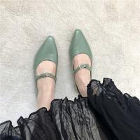 款早春萌萌绿色系带皮带扣软底平底鞋低帮鞋女鞋