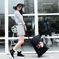 旅行包女手提拉杆韩版大容量短途旅游折叠防水轻便蜡笔小新行李袋 拉杆黑色蜡笔小新