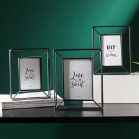北欧立体金属相框摆台个性创意欧式复古玻璃照片框摆件相册6寸7寸