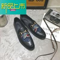 新品上市春季英伦休闲男士小皮鞋社会小伙刺绣豆豆鞋韩版潮流夜场型师鞋 606 狼