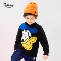 迪士尼男童半高领毛衣秋冬新款帅气卡通唐老鸭儿童宝宝针织衫上衣