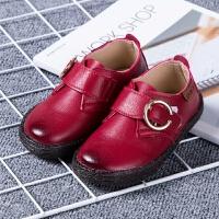 �和�防水小皮鞋新款黑色演出鞋小中童�凸�W生鞋英���L休�e鞋擦色