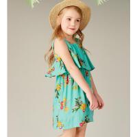 女童夏装吊带背心连衣裙儿童印花裙子度假沙滩裙