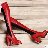 古奇天伦 头层牛皮长靴女鞋 超高跟骑士靴粗跟防水台真皮女靴8128
