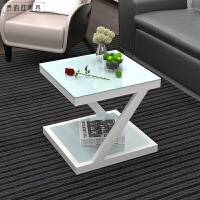 钢化玻璃铁艺小茶几迷你小方桌客厅边桌沙发边角几 简约现代边几