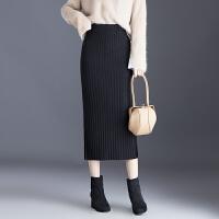 针织半身裙女毛线裙黑色直筒裙包臀裙开叉一步裙子2018秋冬季新款 黑色 黑色 均码 80斤到150斤可穿