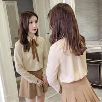 春装新款韩版洋气宽松雪纺衫长袖衬衫女甜美气质蝴蝶结上衣潮