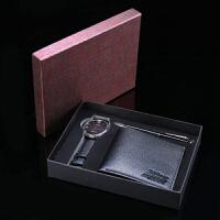 男士钱包送男朋友节日礼物 钱包手表圆珠笔礼盒套装
