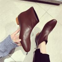 短靴女冬季新款时尚方头低跟后拉链短靴加绒舒适百搭通勤短靴潮