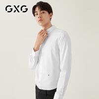 GXG男�b 秋季休�e�r尚青年流行商�彰�C白色�L袖�r衫�r衣男