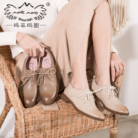 玛菲玛图英伦鞋女2020新款女鞋头层牛皮系带真皮复古chic小粗跟春季单鞋女13558-2W
