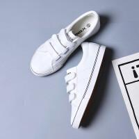 皮面帆布鞋女春夏大码女鞋低帮懒人鞋韩版休闲鞋40-43学生板鞋子