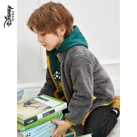 迪士尼童装男童舒棉绒外套秋冬新款儿童加绒加厚拉链衫保暖上衣