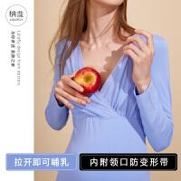 毛衫喂奶保暖内衣女孕妇秋衣秋裤套装冬哺乳睡衣产后怀孕期棉