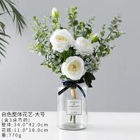 北欧假花仿真玫瑰花束客厅餐桌摆设花装饰花尤加利叶仿真花束摆件