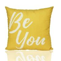 风格抱枕黄色几何靠枕ins沙发抱枕套汽车办公室椅子床头腰靠