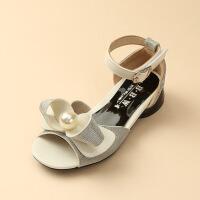 夏季公主珍珠时尚女童增高中大童凉鞋