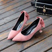 高跟鞋细跟蝴蝶结尖头低跟3cm小跟单鞋浅口蝴蝶结学生绒面工作鞋