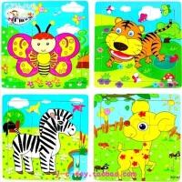 木质儿童早教9片动物拼图 0-1-2-3岁宝宝拼图儿童玩具