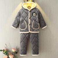 儿童睡衣男女孩冬季法兰绒中大童亲子套装加厚款宝宝珊瑚绒家居服