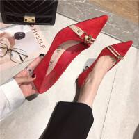 高跟鞋女2019新款时尚尖头浅口细跟单鞋绒面气质百搭红色高跟鞋