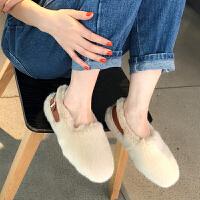 毛毛鞋女2018秋冬新款韩版保暖女鞋圆头平底鞋舒适棉瓢鞋